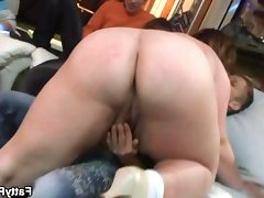Busty fatty strips and sucks