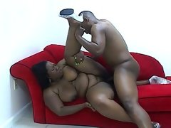 Big size busty ebony rammed by another..