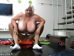 Fat cunt floppy tits strip show fucked..