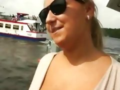Massive boobs bitch fucked on a bridge