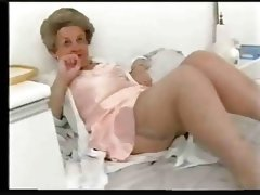 Chubby old granny teases in satin..