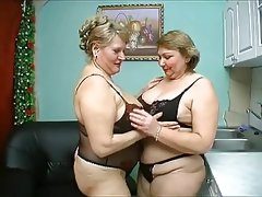 Two old chubby mature have wild sex in..