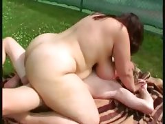 Chubby brunette showing and fucking at..