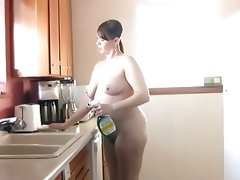 Barefoot & naked in the kitchen