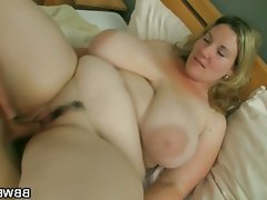 She pleases his with huge tits and fat..
