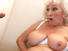 Old bbw-granny takes cock on toilette