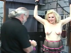 Chubby blonde milf spanked in his..