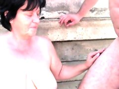 Bbw granny makes the best of grandpa\'s..