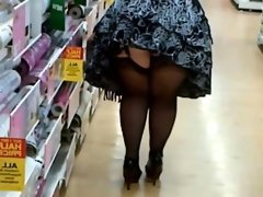Fat woman in stockings and heels..