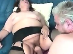 Big and horny grandma wearing stockings