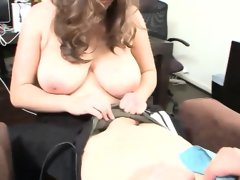 Busty hottie tit fucked and gobbles cock